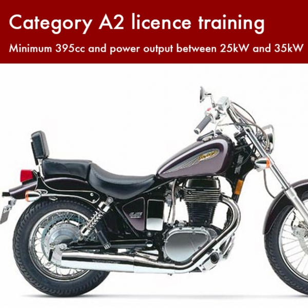 Category A2 licence training – Minimum 395cc and power output between 25kW and 35kW